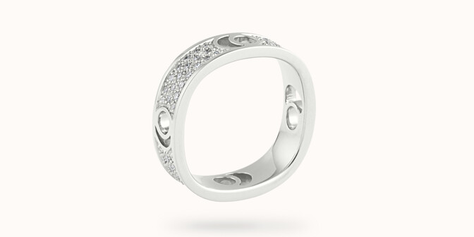 Bague Eclipse grand modèle - Or blanc 18K (7,80 g), diamants 0,70 ct - Côté - Courbet