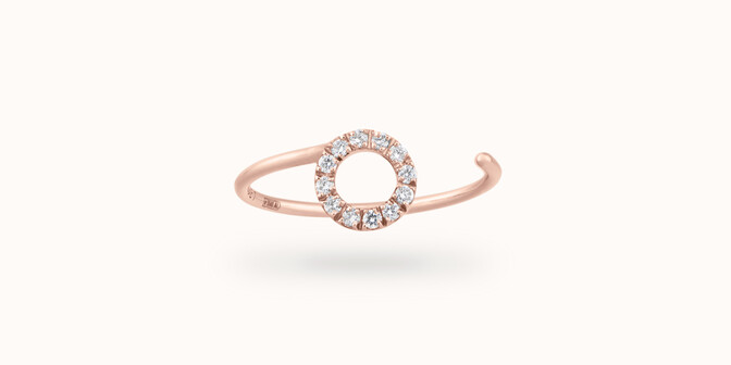 Bague O2 - Or rose 18K (0,90 g), diamants 0,10 ct - Face - Courbet