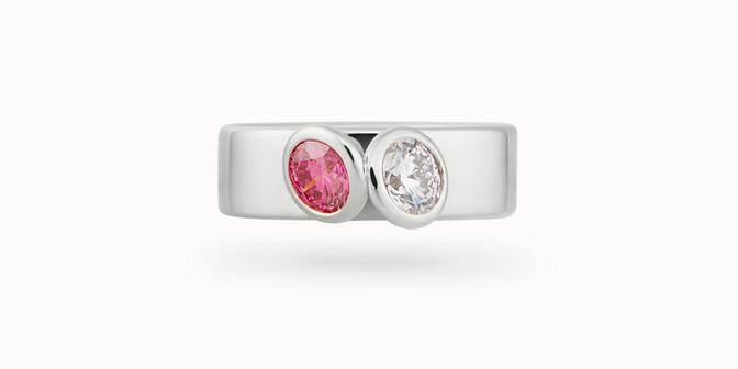 Bague 2 Courbet - Or blanc 18K (7,00g), 2 diamants (1 rose) 1ct - Face - Courbet