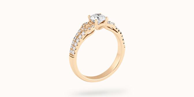 Bague fiançailles Infinity - Or jaune 18K (3,90 g), diamants 0,70 ct - Côté - Courbet