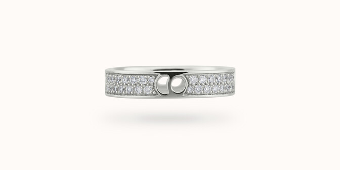 Bague Eclipse petit modèle - Or blanc 18K (4,20 g), diamants 0,55 ct