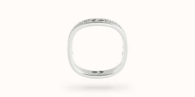 Bague Eclipse petit modèle - Or blanc 18K (4,20 g), diamants 0,55 ct - Profil - Courbet