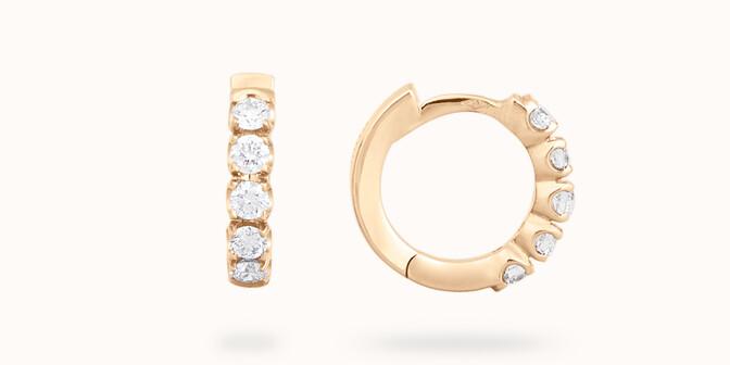 Créoles - Or jaune 18K (3,20 g), diamants 0,5 cts - Courbet