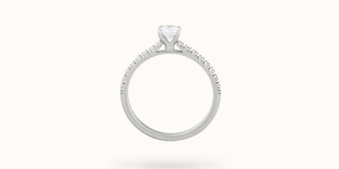 Solitaire quatre griffes - Or blanc 18K (2,20 g), diamants 0,1 cts - Profil - Courbet