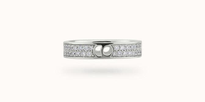 Bague Eclipse petit modèle - Or blanc 18K (4,20 g), diamants 0,55 ct - Face - Courbet
