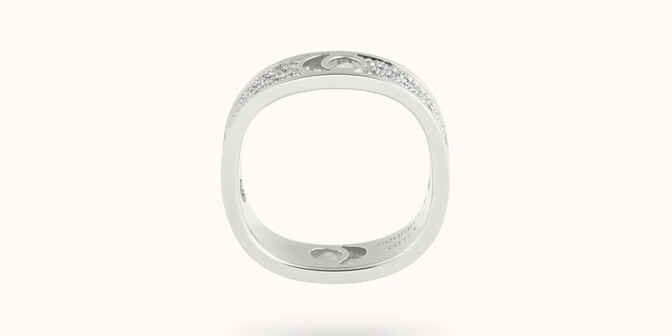 Bague Eclipse grand modèle - Or blanc 18K (7,80 g), diamants 0,70 ct - Profil - Courbet