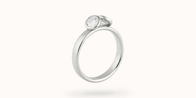 Bague 2 Courbet - Or blanc 18K (3,50g), 2 diamants 1ct - Coté