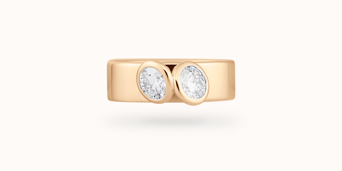 Bague 2 Courbet - Or jaune 18K (7,00g), 2 diamants 1ct- Face - Courbet