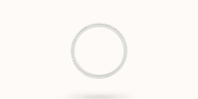 Alliance full-pavée (1 mm) - Or blanc 18K (1,00 g), diamants 0,30 ct - Profil