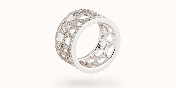 Bague Constellation - Or blanc 18K (7,35 g) - diamants 1,70 carats - Face