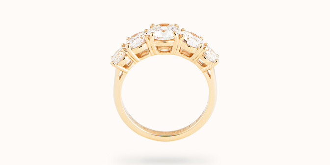Bague solitaire Quintet - Or jaune 18K (4,50 g), 5 diamants 1,20 cts - Profil
