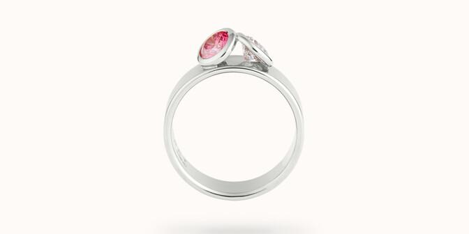 Bague 2 Courbet - Or blanc 18K (7,00g), 2 diamants (1 rose) 1ct - Profil - Courbet