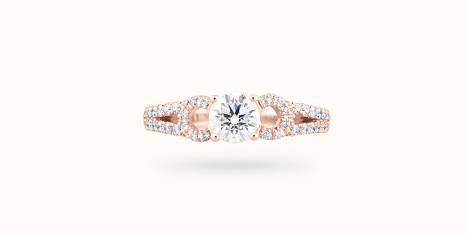 Bague fiançailles Infinity - Or rose 18K (3,90 g), diamants 0,70 ct - Face - Courbet