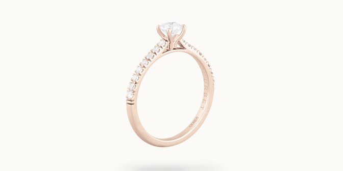 Solitaire quatre griffes - Or rose 18K (2,20 g), diamants 0,3 cts - Côté - Courbet