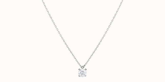 Collier quatre griffes - Or blanc 18K (2,00 g), diamant 0,2 ct - Face - Courbet