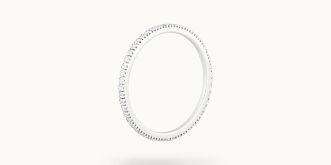 Alliance full-pavée (1 mm) - Or blanc 18K (1,00 g), diamants 0,30 ct - Côté