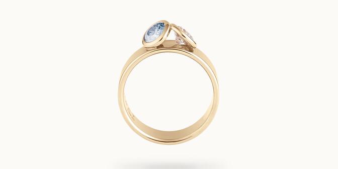 Bague 2 Courbet - Or jaune 18K (7,00g), 2 diamants (1 bleu) 1ct - Profil - Courbet
