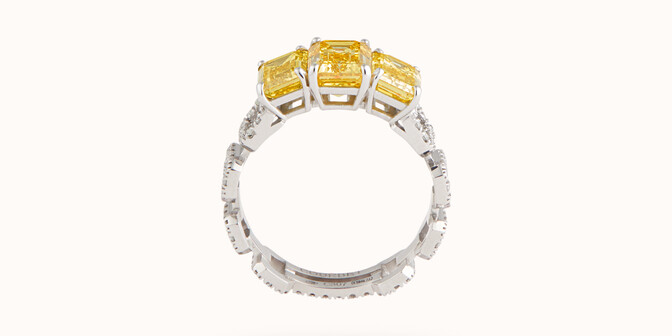 Bague Haute Joaillerie - Or blanc 18K (4,10 g), diamants jaunes et blancs 4,10 cts - Profil