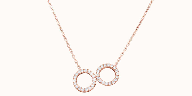 Collier - Or rose 18K (4,90 g), diamants 0,36 cts - Face