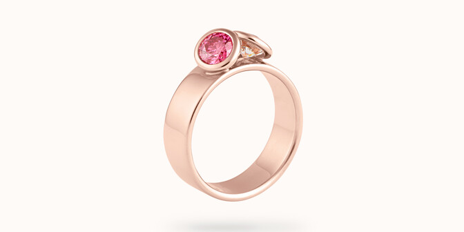 Bague 2Courbet - Or rose 18K (7,00 g),  diamant 1 carat - Côté
