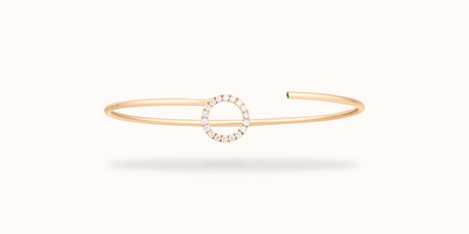 Bracelet Jonc O2 - Or jaune 18K (4,00 g), diamants 0,18 carat