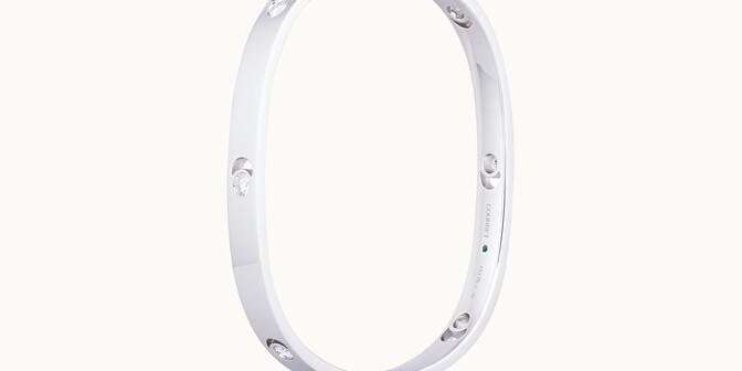 Jonc Eclipse grand modèle - Or blanc 18K (32,00 g), diamants 0,6 cts - Côté - Courbet
