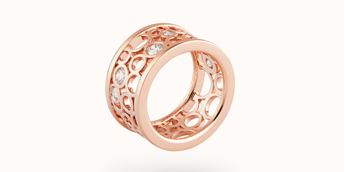 Bague Constellation - Or rose 18K (9,55 g) - diamants 0,63 carats - Face