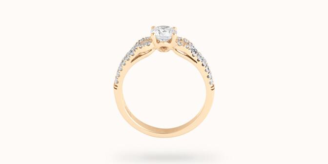 Bague fiançailles Infinity - Or jaune 18K (3,90 g), diamants 0,70 ct - Profil - Courbet