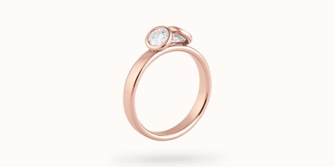 Bague 2Courbet - Or rose 18K (3,50 g),  diamant 1 carat - Face