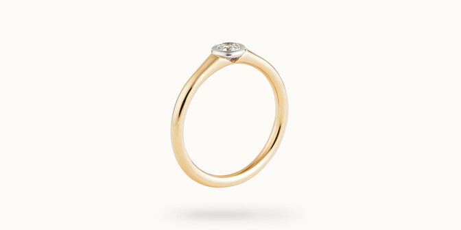 Bague Origine - Or jaune 18K (2,60 g), diamant 0,10 ct - Côté - Courbet
