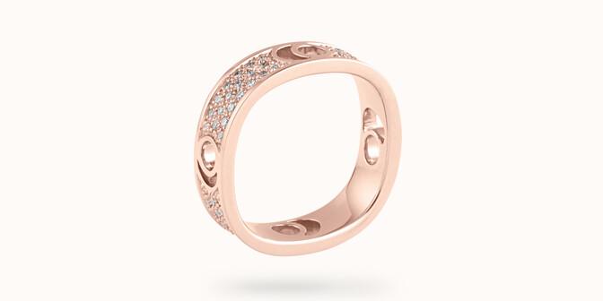 Bague Eclipse grand modèle - Or rose 18K (7,80 g), diamants 0,70 ct - Côté