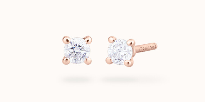 Boucles d'oreilles quatre griffes - Or rose 18K (1,00 g), 2 diamants 0,20 ct