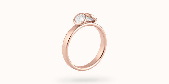 Bague 2 Courbet - Or rose 18K (3,50g), 2 diamants 0,5 ct