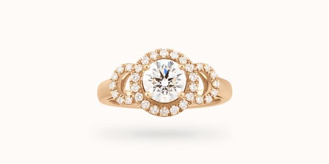 Bague Halo Courbet - Or jaune 18K (5,40 g), diamants 0.75 carat - Face - Courbet