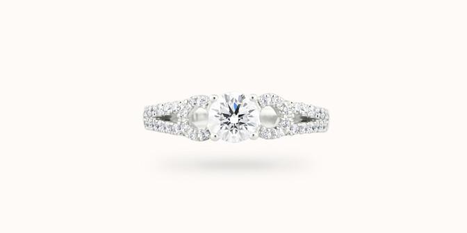 Bague fiançailles Infinity - Or blanc 18K (3,90 g), diamants 0,70 ct - Face - Courbet