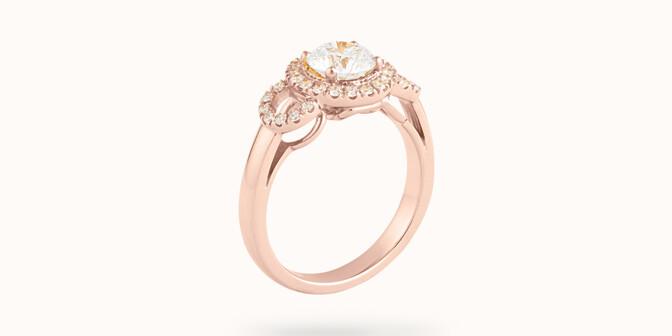 Bague Halo Courbet - Or rose 18K (5,40 g), diamants 0.75 carat - Côté - Courbet