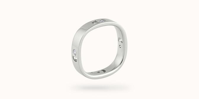 Bague Eclipse petit modèle - Or blanc 18K (4,20 g), 4 diamants 0,12 ct - Côté - Courbet