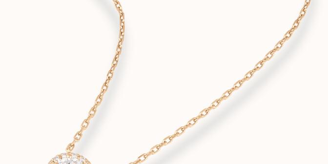 Collier Halo - Or jaune 18K (4,00 g), diamants 0,344 cts - Mouvement