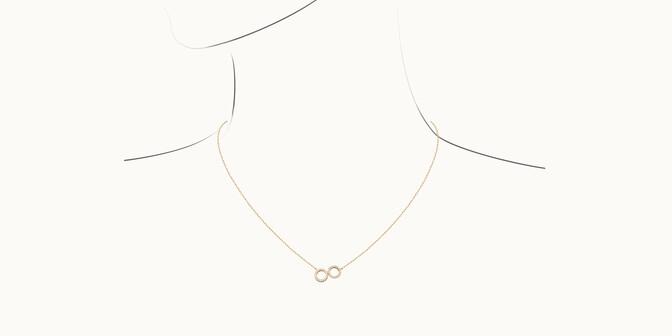 Collier - Or jaune 18K (4,90 g), diamants 0,36 cts - Dessin