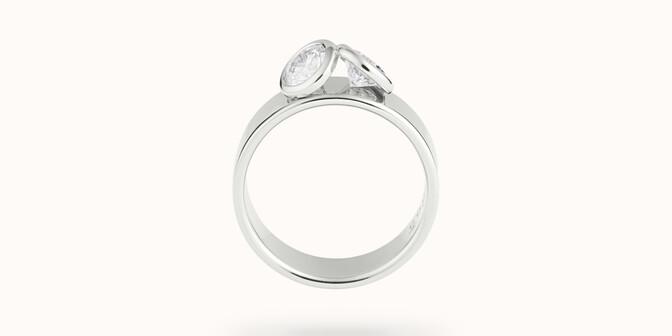 Bague 2 Courbet - Or blanc 18K (7,00g), 2 diamants 1ct - Profil