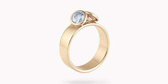 Bague 2 Courbet - Or jaune 18K (7,00g), 2 diamants (1 bleu) 1ct - Côté - Courbet