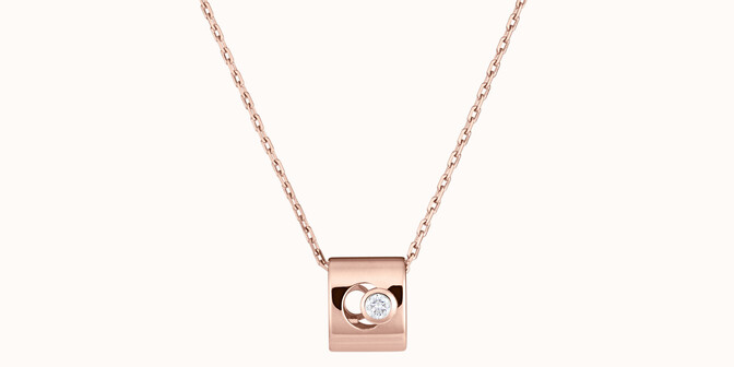 Collier Eclipse - Or rose 18K (6,30 g), diamant 0,1 ct - Face