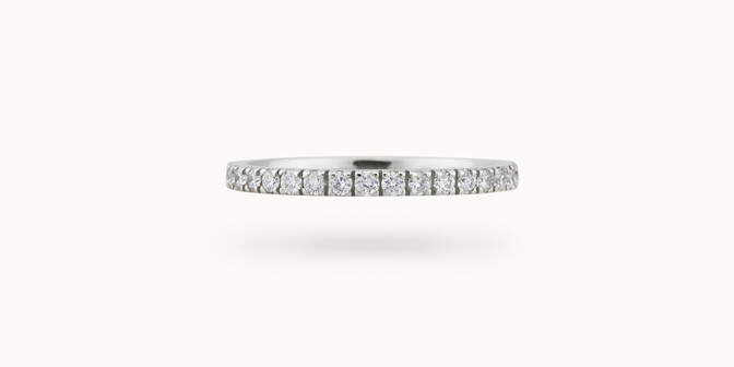 Alliance full-pavée (1,8mm) - Or blanc 18K (1,50 g), diamants 0,60 ct - Courbet