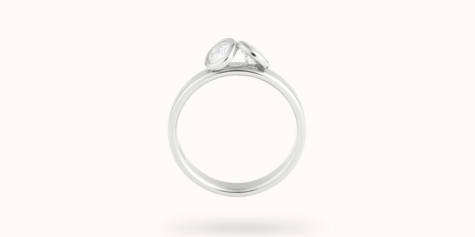 Bague 2 Courbet - Or blanc 18K (3,50g), 2 diamants 1ct - Profil