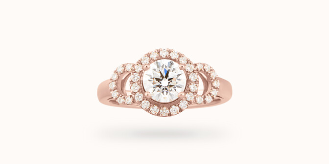 Bague fiançailles Halo - Or rose 18K (6,00 g), diamants 1,25 cts - Courbet