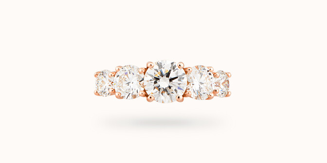 Bague solitaire Quintet - Or rose 18K (4,50 g), 5 diamants 1,20 cts