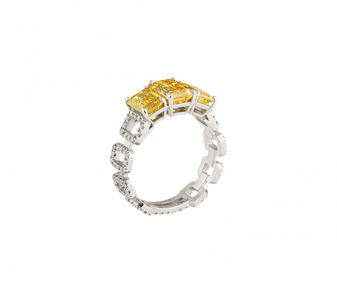 Bague Haute Joaillerie - Or blanc 18K (4,10 g), diamants jaunes et blancs 4,10 cts - Vue 3