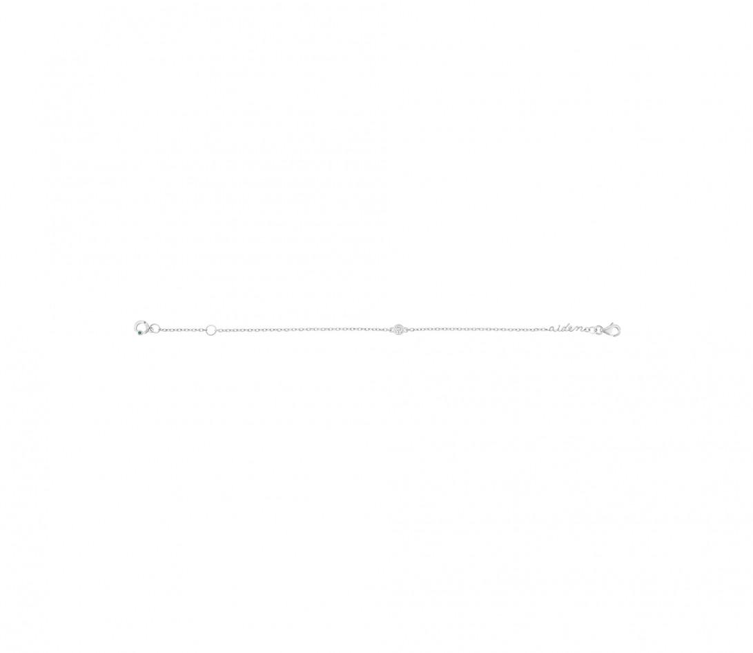 Bracelet chaîne ORIGINE 1 motif serti personnalisé en or blanc 18K - Courbet - Vue 6