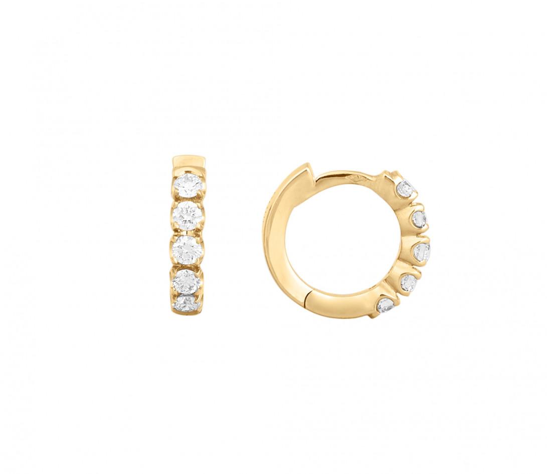Créoles - Or jaune 18K (3,20 g), diamants 0,5 cts