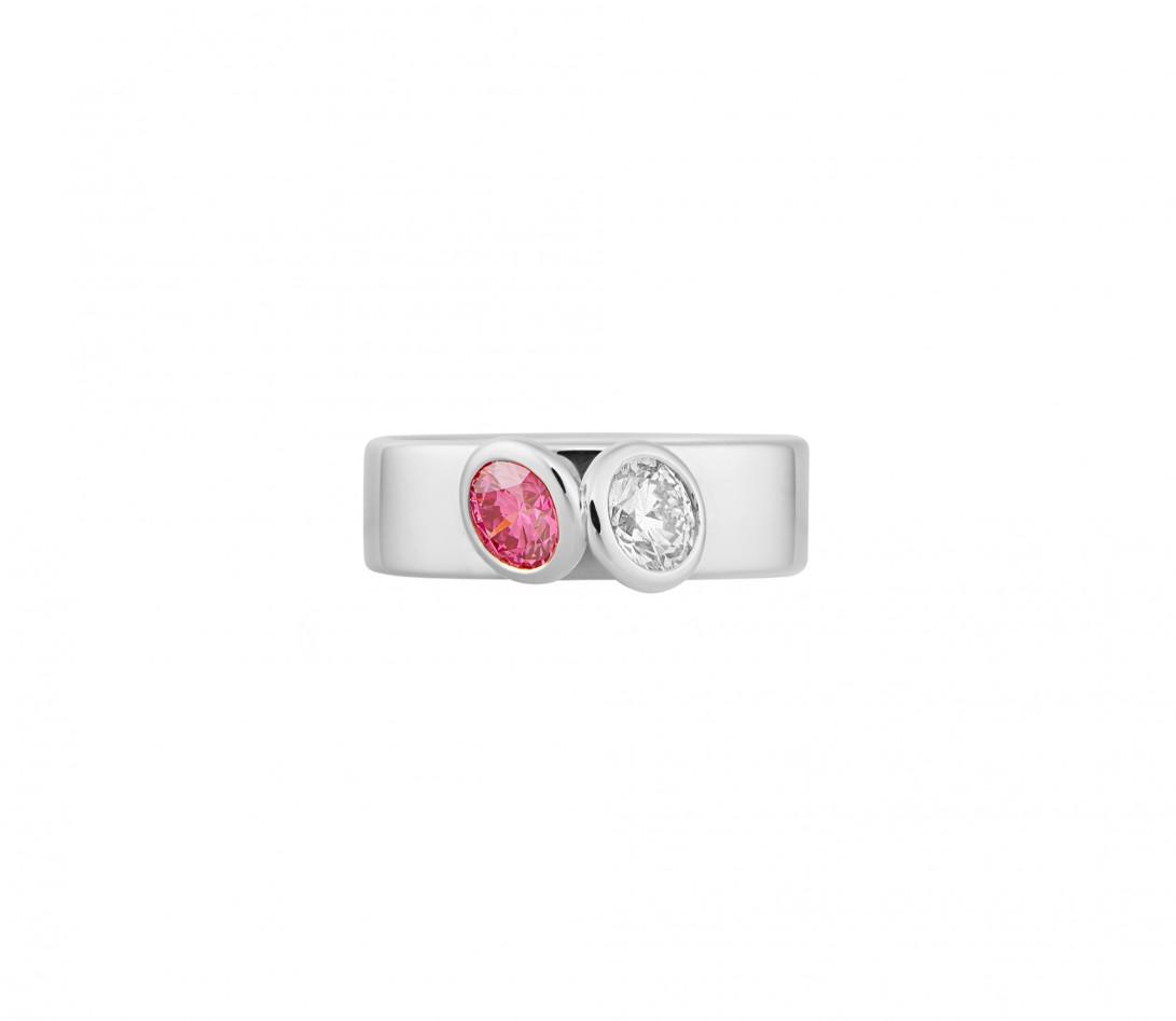 Bague 2 Courbet - Or blanc 18K (7,00g), 2 diamants (1 rose) 1ct - Vue 3